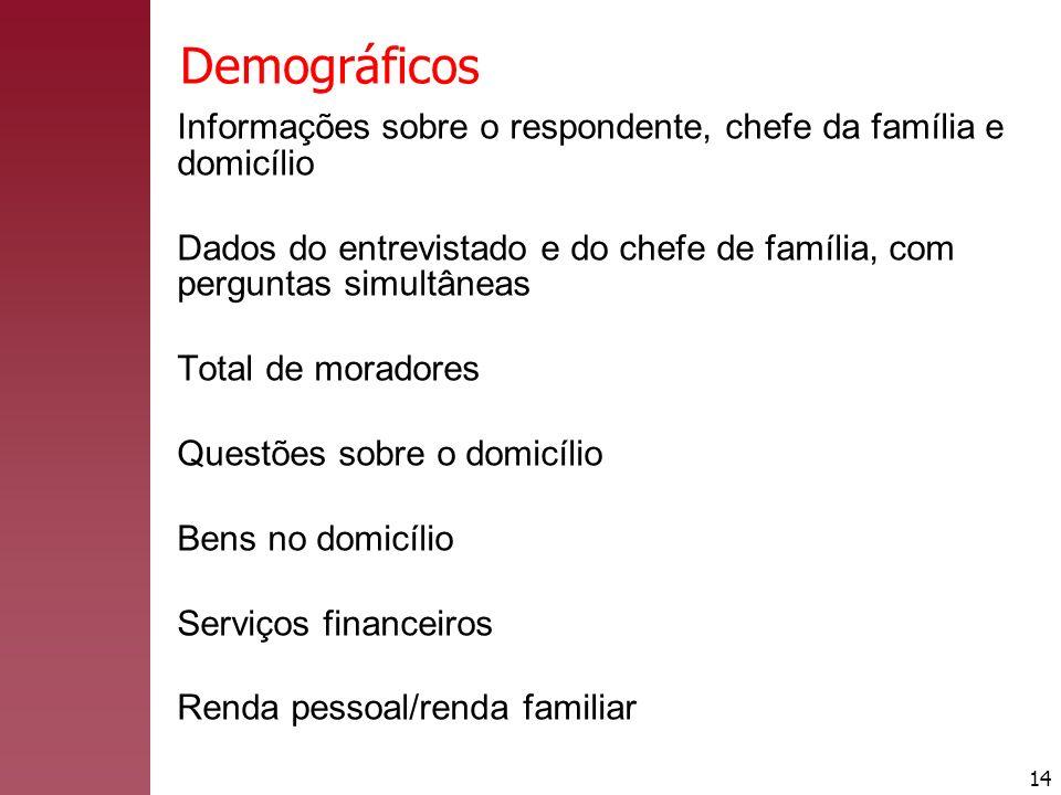 14 Demográficos Informações sobre o respondente, chefe da família e domicílio Dados do entrevistado e do chefe de família, com perguntas simultâneas T