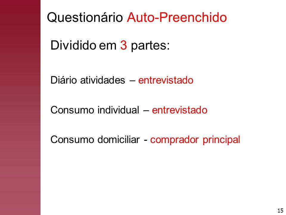 15 Questionário Auto-Preenchido Dividido em 3 partes: Diário atividades – entrevistado Consumo individual – entrevistado Consumo domiciliar - comprado