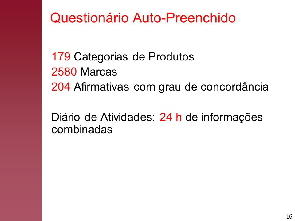 16 179 Categorias de Produtos 2580 Marcas 204 Afirmativas com grau de concordância Diário de Atividades: 24 h de informações combinadas Questionário A