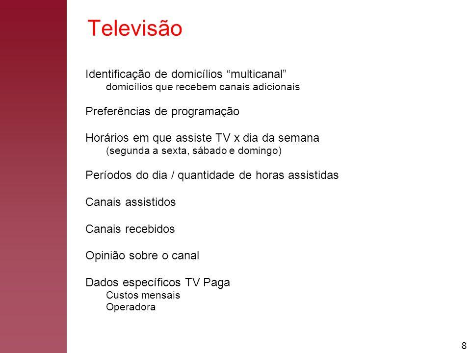 8 Televisão Identificação de domicílios multicanal domicílios que recebem canais adicionais Preferências de programação Horários em que assiste TV x d