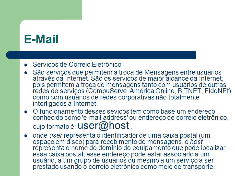E-Mail Serviços de Correio Eletrônico São serviços que permitem a troca de Mensagens entre usuários através da Internet. São os serviços de maior alca