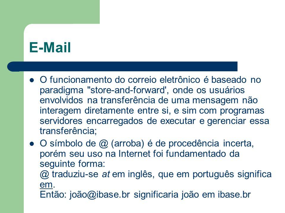 E-Mail O funcionamento do correio eletrônico é baseado no paradigma