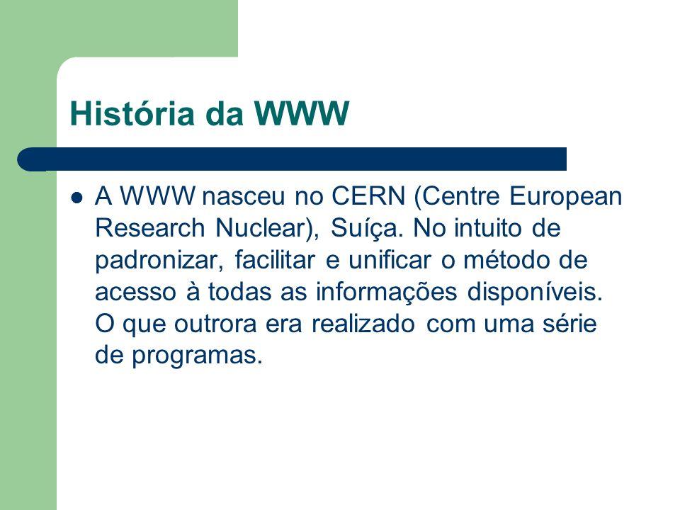 História da WWW A WWW nasceu no CERN (Centre European Research Nuclear), Suíça. No intuito de padronizar, facilitar e unificar o método de acesso à to