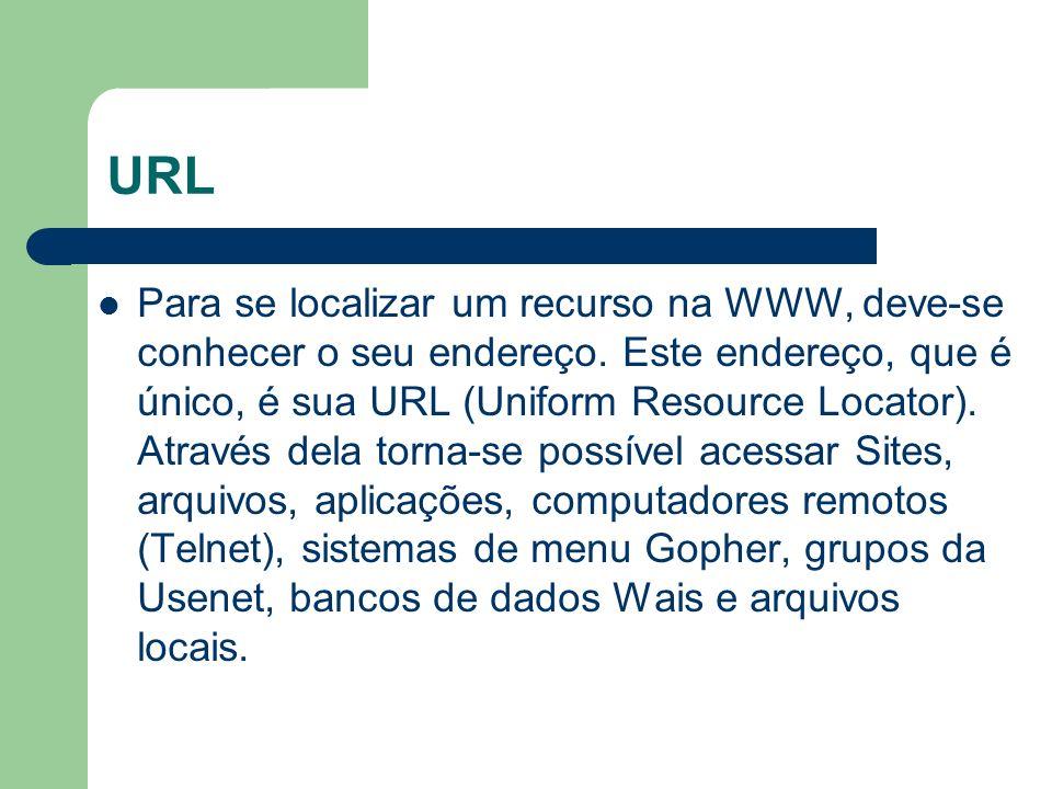 URL Para se localizar um recurso na WWW, deve-se conhecer o seu endereço. Este endereço, que é único, é sua URL (Uniform Resource Locator). Através de