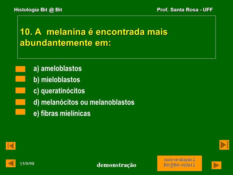 Histologia Bit @ Bit Prof. Santa Rosa - UFF 15/9/98 demonstração Auto-avaliação 2 Bit@Bit -slide11 9. Os monócitos e as células derivadas, caracterist