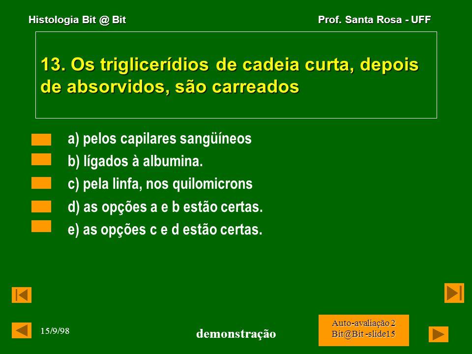 Histologia Bit @ Bit Prof. Santa Rosa - UFF 15/9/98 demonstração Auto-avaliação 2 Bit@Bit -slide14 12. A maior variedade das enzimas digestivas dos en