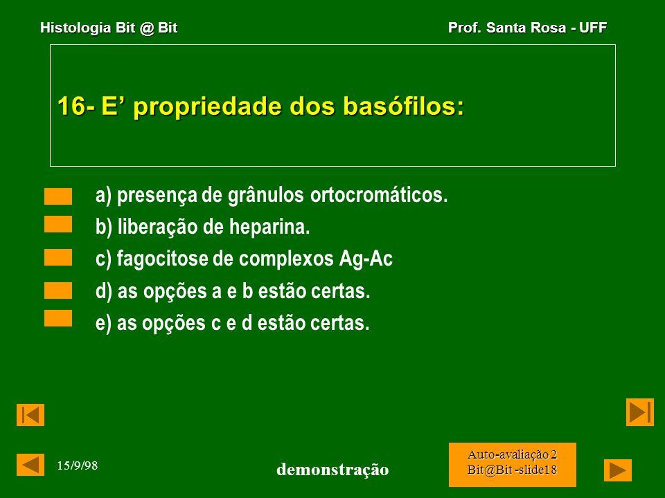 Histologia Bit @ Bit Prof. Santa Rosa - UFF 15/9/98 demonstração Auto-avaliação 2 Bit@Bit -slide17 15. O corte foi obtido de um orgão que: a) é indisp