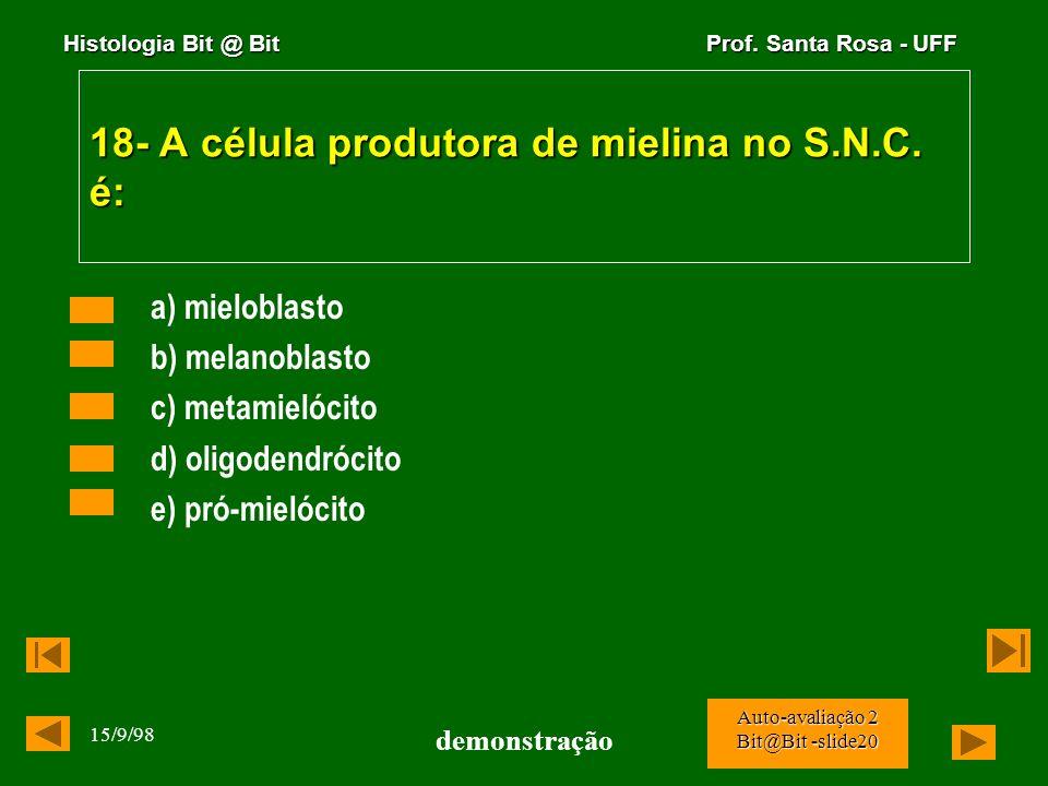 Histologia Bit @ Bit Prof. Santa Rosa - UFF 15/9/98 demonstração Auto-avaliação 2 Bit@Bit -slide19 17- A estrutura abaixo é: a) Sistema de Havers b) c