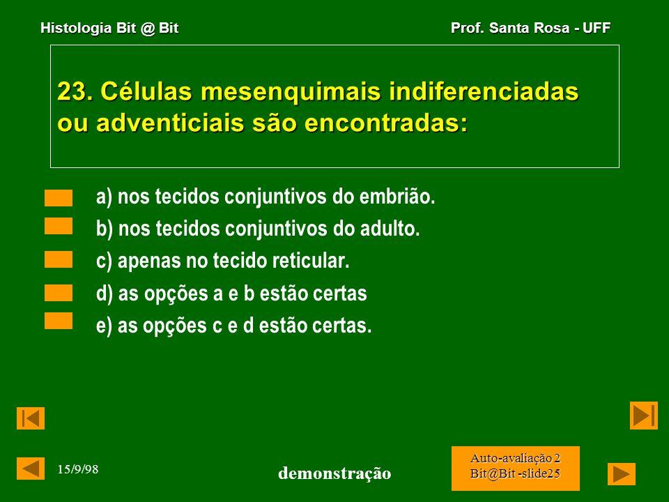 Histologia Bit @ Bit Prof. Santa Rosa - UFF 15/9/98 demonstração Auto-avaliação 2 Bit@Bit -slide24 22. Células endócrinas do tubo digestivo tem sido r