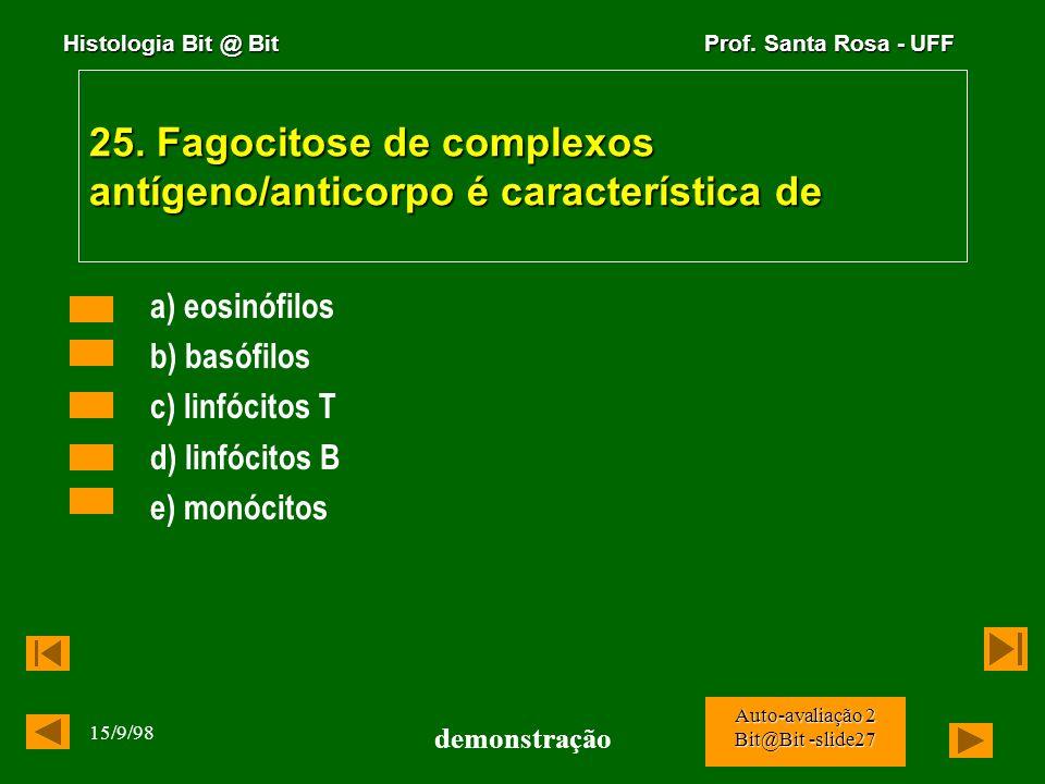 Histologia Bit @ Bit Prof. Santa Rosa - UFF 15/9/98 demonstração Auto-avaliação 2 Bit@Bit -slide26 24. Na reação hospedeiro x enxerto as principais cé