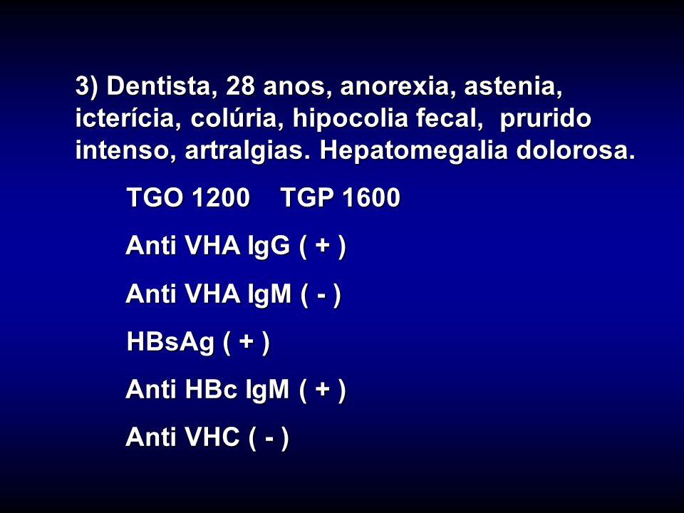 3) Dentista, 28 anos, anorexia, astenia, icterícia, colúria, hipocolia fecal, prurido intenso, artralgias. Hepatomegalia dolorosa. TGO 1200 TGP 1600 T