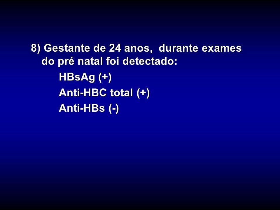 8) Gestante de 24 anos, durante exames do pré natal foi detectado: HBsAg (+) Anti-HBC total (+) Anti-HBs (-)