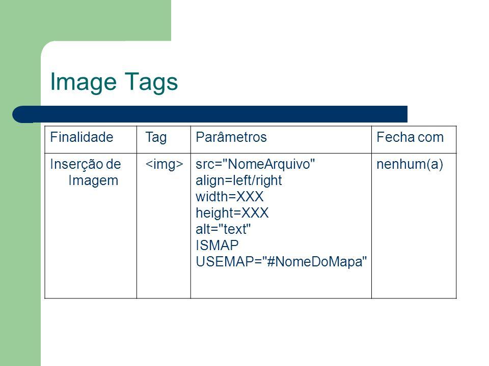 Image Tags Finalidade TagParâmetrosFecha com Inserção de Imagem src=