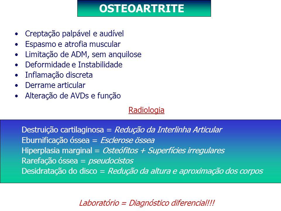 Creptação palpável e audível Espasmo e atrofia muscular Limitação de ADM, sem anquilose Deformidade e Instabilidade Inflamação discreta Derrame articu