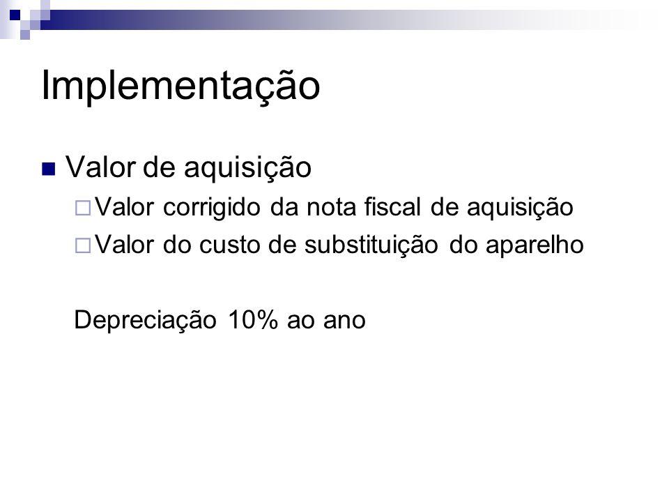 Implementação Valor de aquisição Valor corrigido da nota fiscal de aquisição Valor do custo de substituição do aparelho Depreciação 10% ao ano