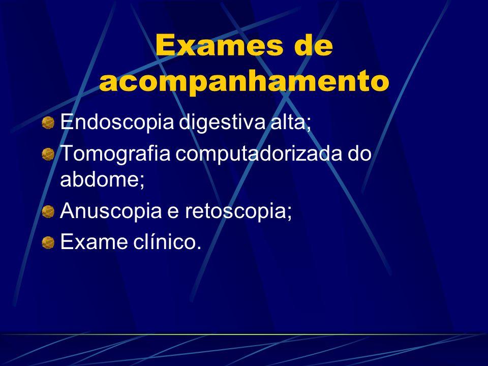 Exames de acompanhamento Endoscopia digestiva alta; Tomografia computadorizada do abdome; Anuscopia e retoscopia; Exame clínico.