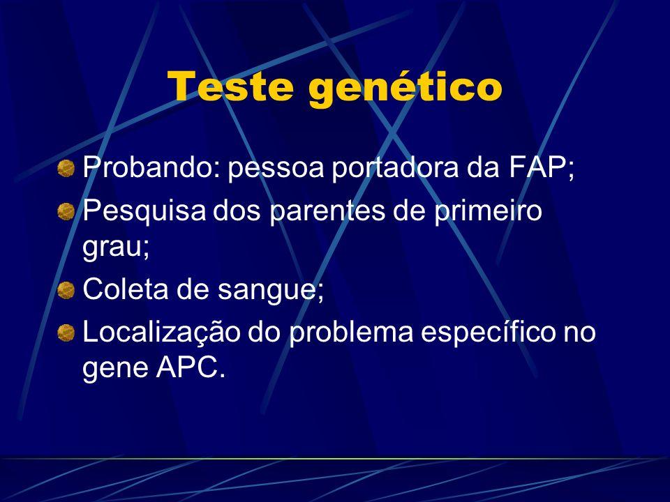 Teste genético Probando: pessoa portadora da FAP; Pesquisa dos parentes de primeiro grau; Coleta de sangue; Localização do problema específico no gene