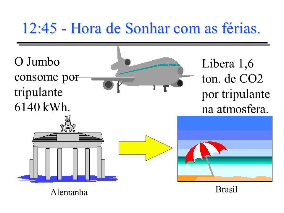 12:45 - Hora de Sonhar com as férias. Alemanha Brasil O Jumbo consome por tripulante 6140 kWh. Libera 1,6 ton. de CO2 por tripulante na atmosfera.