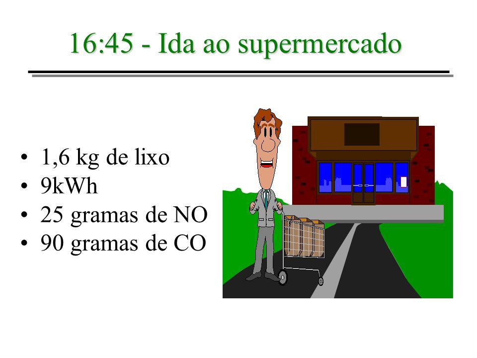 16:45 - Ida ao supermercado 1,6 kg de lixo 9kWh 25 gramas de NO 90 gramas de CO