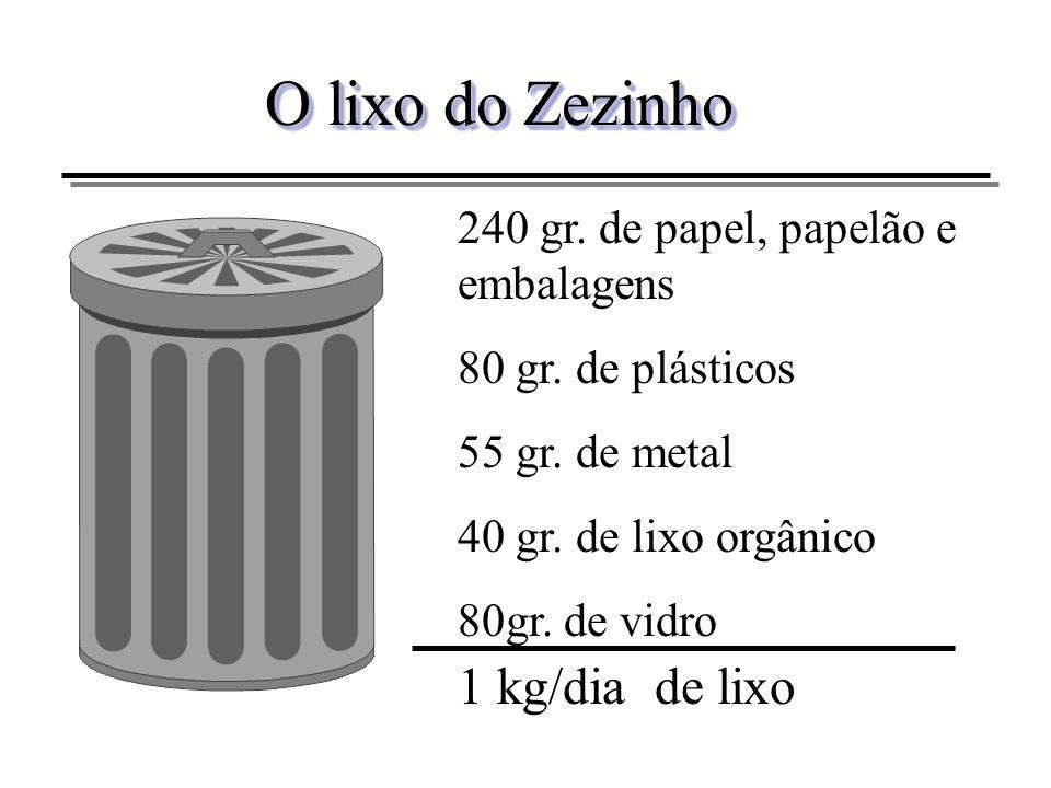 O lixo do Zezinho 240 gr. de papel, papelão e embalagens 80 gr. de plásticos 55 gr. de metal 40 gr. de lixo orgânico 80gr. de vidro 1 kg/dia de lixo