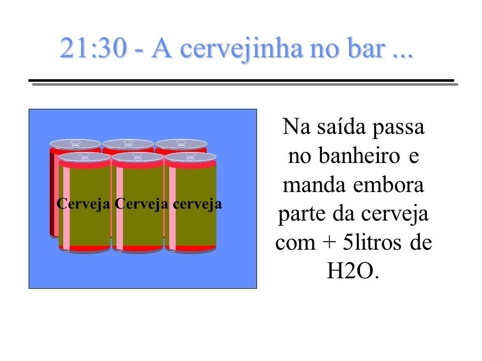21:30 - A cervejinha no bar... Cerveja cerveja Na saída passa no banheiro e manda embora parte da cerveja com + 5litros de H2O.