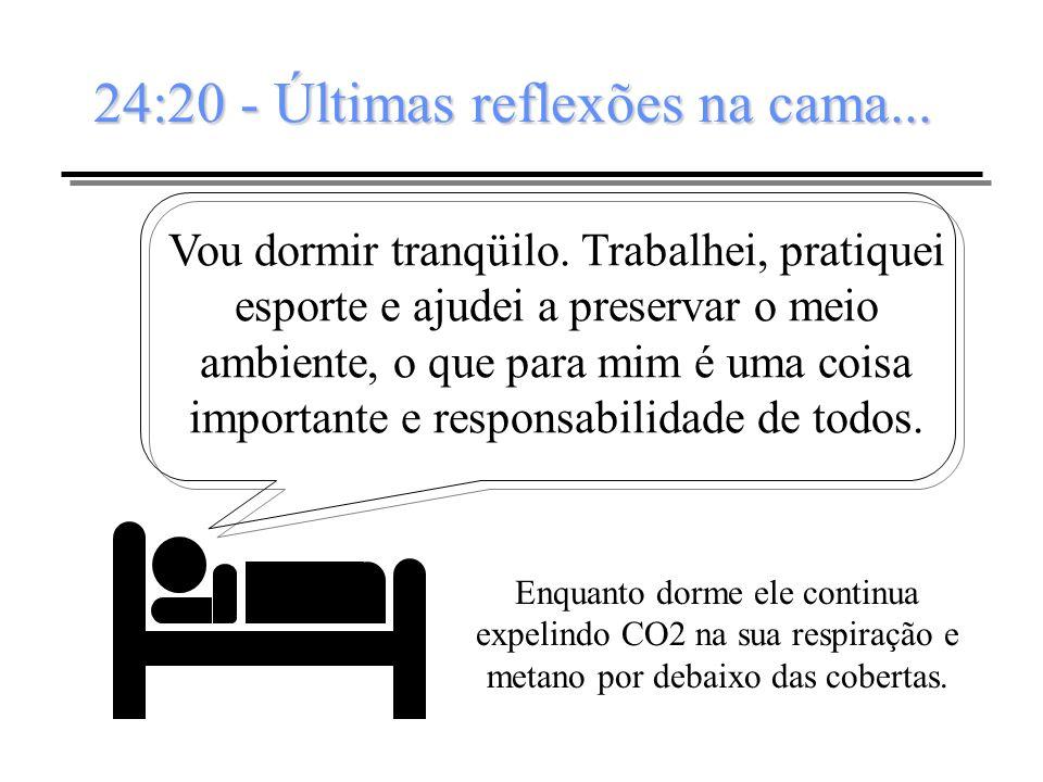 24:20 - Últimas reflexões na cama... Vou dormir tranqüilo. Trabalhei, pratiquei esporte e ajudei a preservar o meio ambiente, o que para mim é uma coi