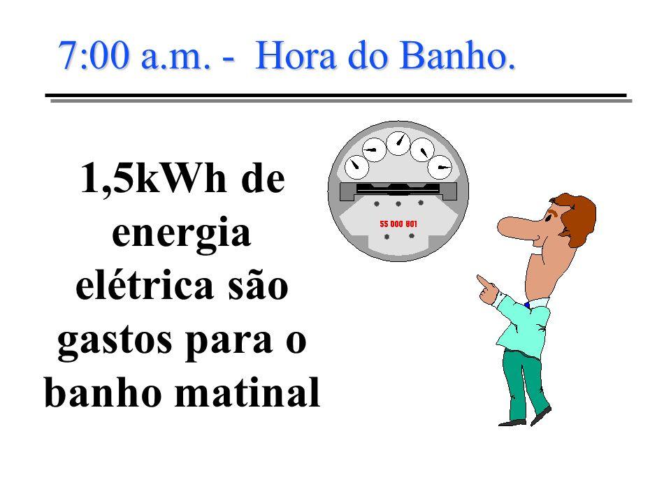 7:00 a.m. - Hora do Banho. 1,5kWh de energia elétrica são gastos para o banho matinal