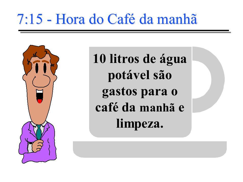 7:15 - Hora do Café da manhã 10 litros de água potável são gastos para o café da manhã e limpeza.