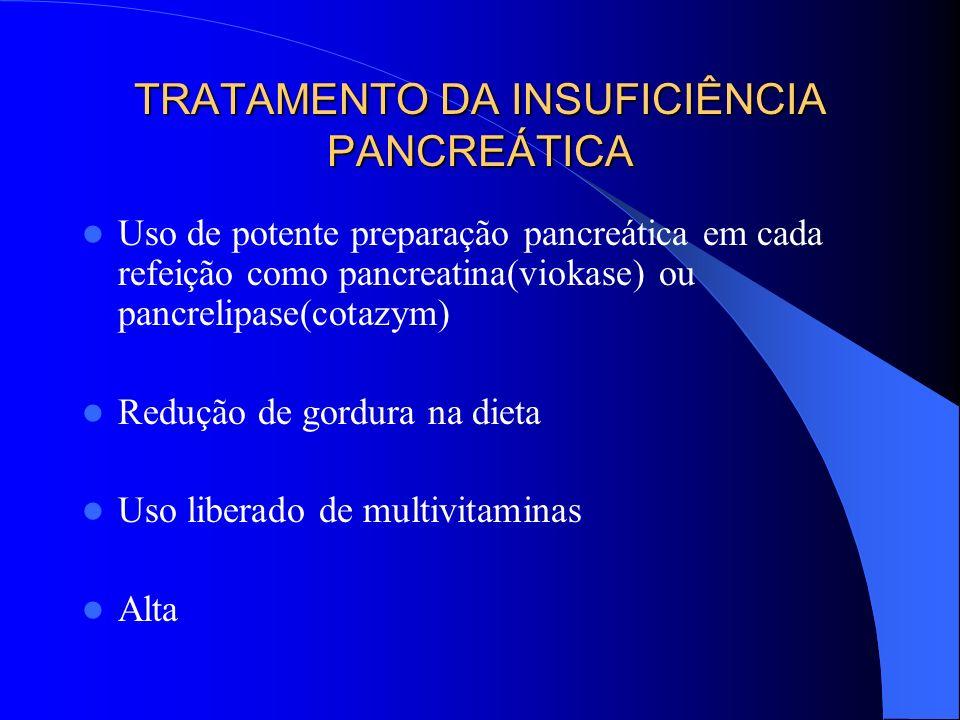 TRATAMENTO DA INSUFICIÊNCIA PANCREÁTICA Uso de potente preparação pancreática em cada refeição como pancreatina(viokase) ou pancrelipase(cotazym) Redu