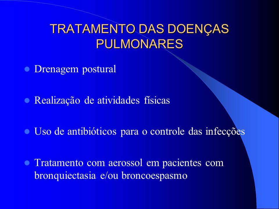 TRATAMENTO DAS DOENÇAS PULMONARES Drenagem postural Realização de atividades físicas Uso de antibióticos para o controle das infecções Tratamento com