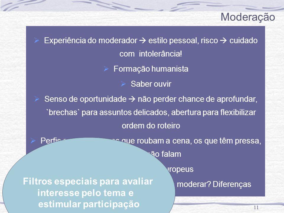 11 Moderação Experiência do moderador estilo pessoal, risco cuidado com intolerância! Formação humanista Saber ouvir Senso de oportunidade não perder
