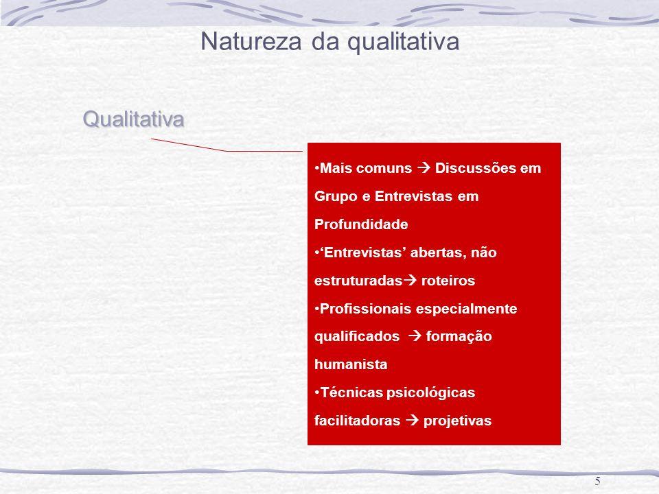 5 Qualitativa Mais comuns Discussões em Grupo e Entrevistas em Profundidade Entrevistas abertas, não estruturadas roteiros Profissionais especialmente