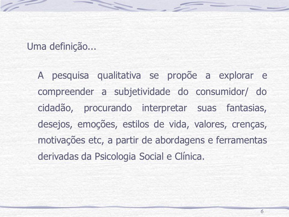 6 Uma definição... A pesquisa qualitativa se propõe a explorar e compreender a subjetividade do consumidor/ do cidadão, procurando interpretar suas fa