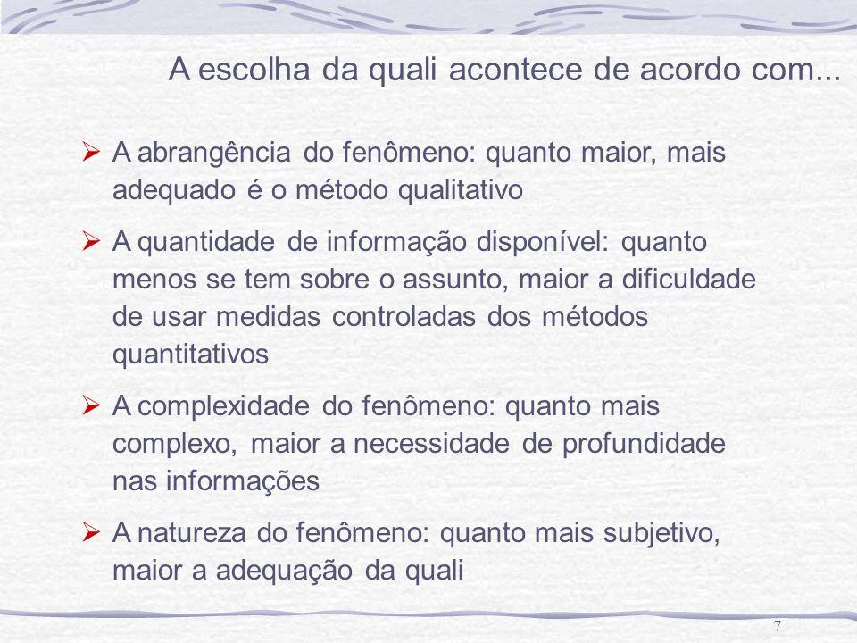 7 A escolha da quali acontece de acordo com... A abrangência do fenômeno: quanto maior, mais adequado é o método qualitativo A quantidade de informaçã