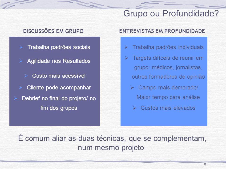 9 Grupo ou Profundidade? Trabalha padrões sociais Agilidade nos Resultados Custo mais acessível Cliente pode acompanhar Debrief no final do projeto/ n
