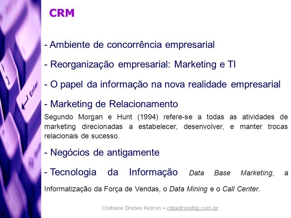 CRM - Ambiente de concorrência empresarial - Reorganização empresarial: Marketing e TI - O papel da informação na nova realidade empresarial - Marketi
