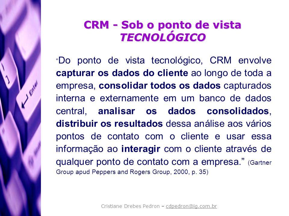CRM - Sob o ponto de vista TECNOLÓGICO Do ponto de vista tecnológico, CRM envolve capturar os dados do cliente ao longo de toda a empresa, consolidar
