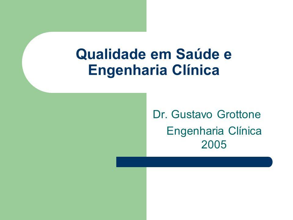 Qualidade em Saúde e Engenharia Clínica Dr. Gustavo Grottone Engenharia Clínica 2005