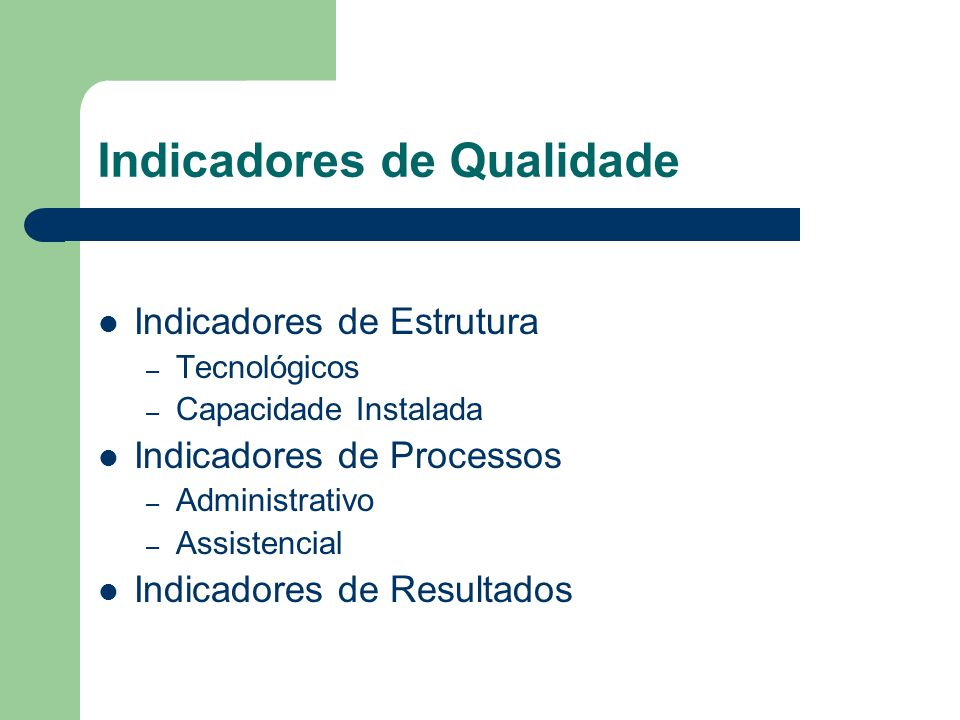 Indicadores de Qualidade Indicadores de Estrutura – Tecnológicos – Capacidade Instalada Indicadores de Processos – Administrativo – Assistencial Indic