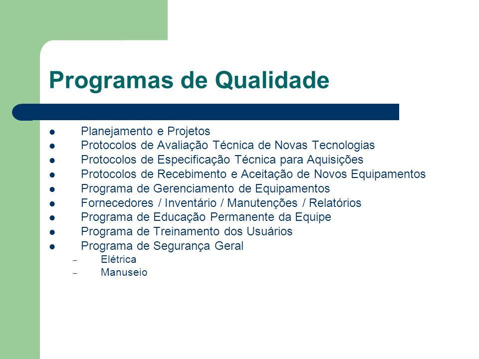 Programas de Qualidade Planejamento e Projetos Protocolos de Avaliação Técnica de Novas Tecnologias Protocolos de Especificação Técnica para Aquisiçõe