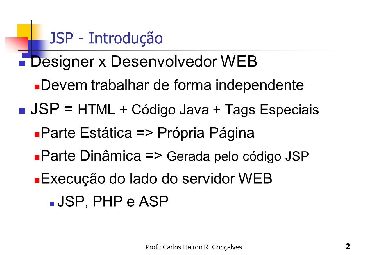 Prof.: Carlos Hairon R. Gonçalves 2 JSP - Introdução Designer x Desenvolvedor WEB Devem trabalhar de forma independente JSP = HTML + Código Java + Tag