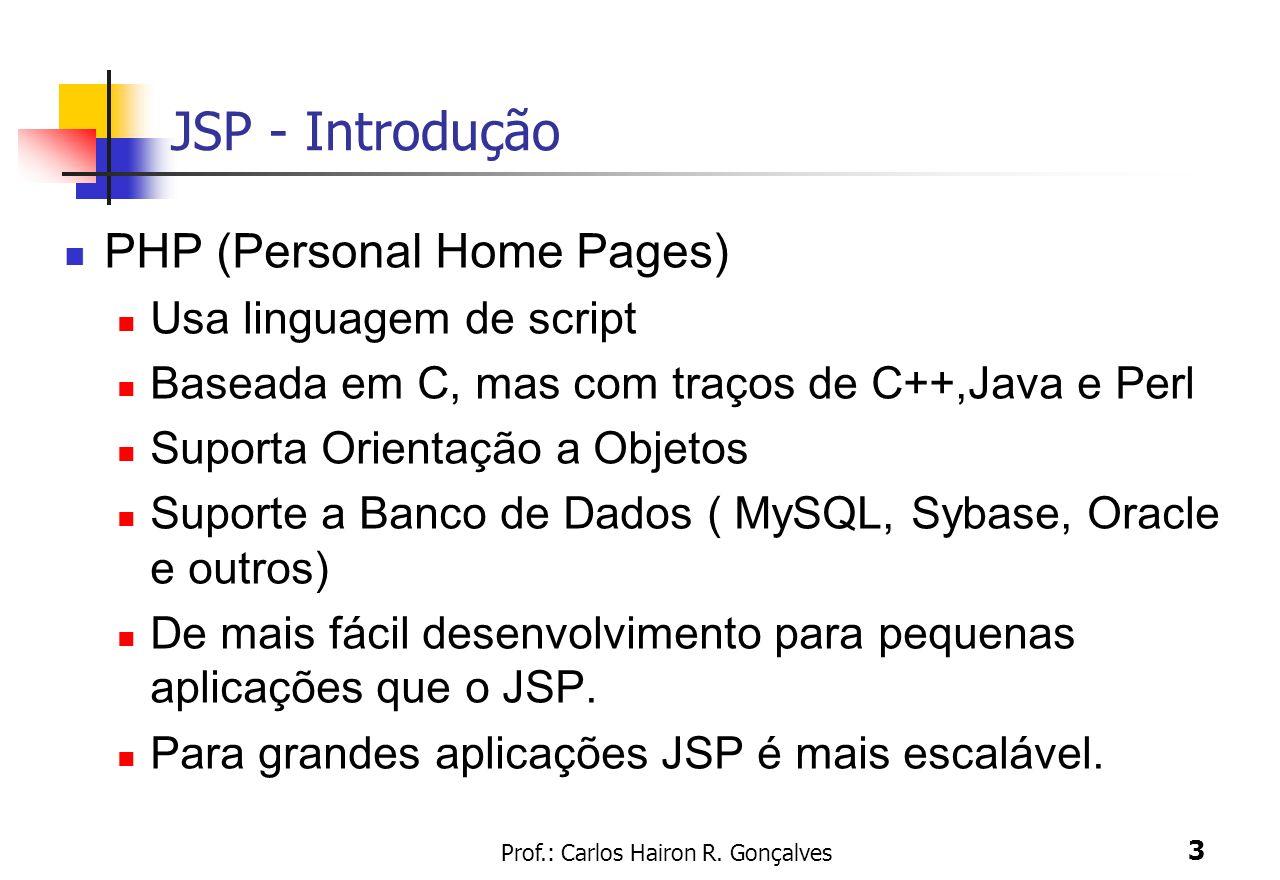Prof.: Carlos Hairon R. Gonçalves 3 JSP - Introdução PHP (Personal Home Pages) Usa linguagem de script Baseada em C, mas com traços de C++,Java e Perl