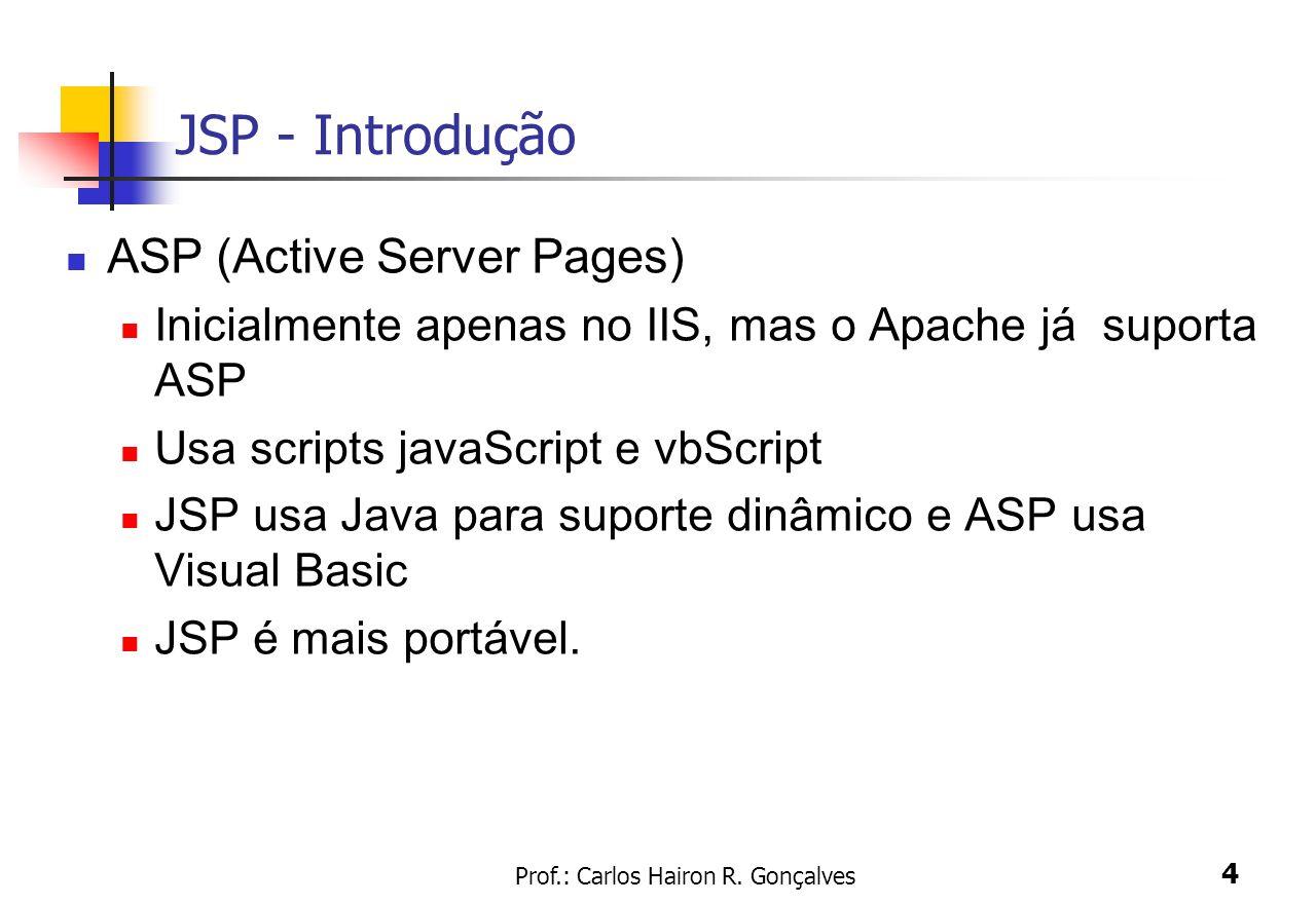 Prof.: Carlos Hairon R. Gonçalves 4 JSP - Introdução ASP (Active Server Pages) Inicialmente apenas no IIS, mas o Apache já suporta ASP Usa scripts jav