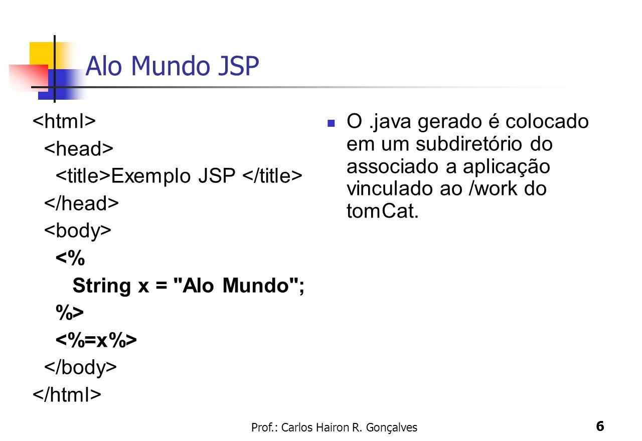 Prof.: Carlos Hairon R. Gonçalves 6 Alo Mundo JSP Exemplo JSP <% String x =