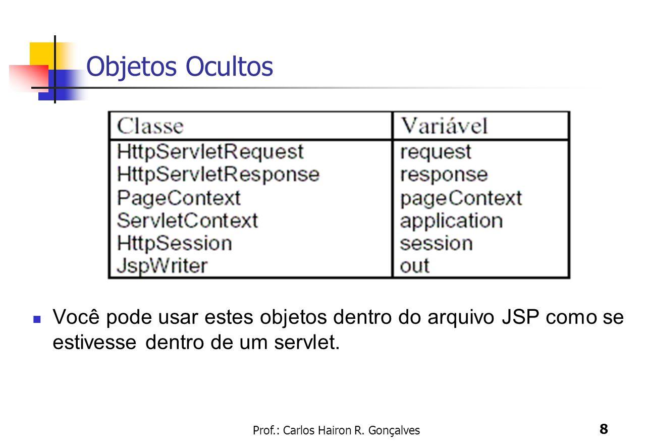 Prof.: Carlos Hairon R. Gonçalves 8 Objetos Ocultos Você pode usar estes objetos dentro do arquivo JSP como se estivesse dentro de um servlet.