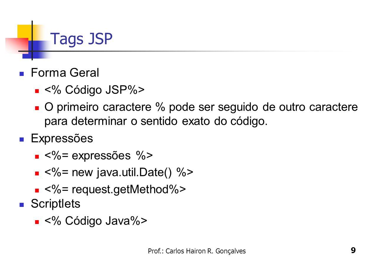 Prof.: Carlos Hairon R. Gonçalves 9 Tags JSP Forma Geral O primeiro caractere % pode ser seguido de outro caractere para determinar o sentido exato do