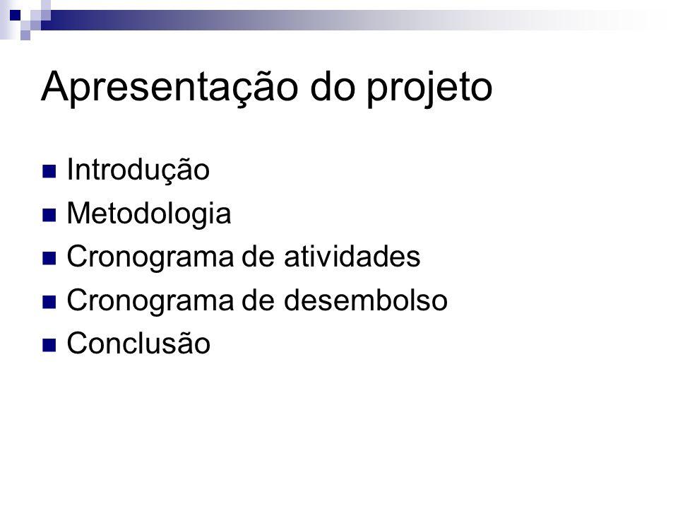 Apresentação do projeto Introdução Metodologia Cronograma de atividades Cronograma de desembolso Conclusão