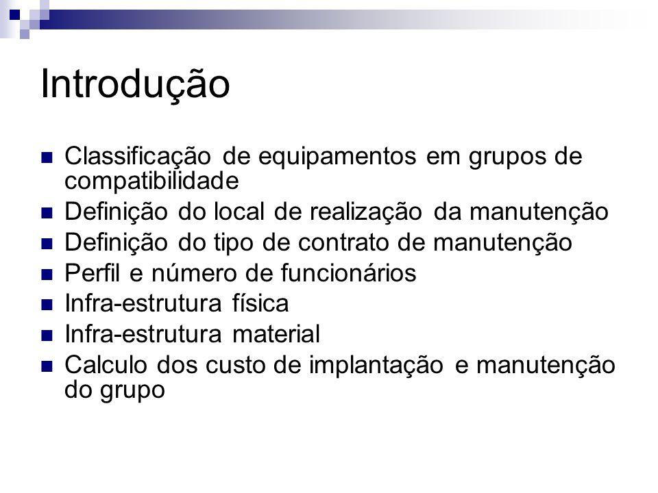 Introdução Classificação de equipamentos em grupos de compatibilidade Definição do local de realização da manutenção Definição do tipo de contrato de