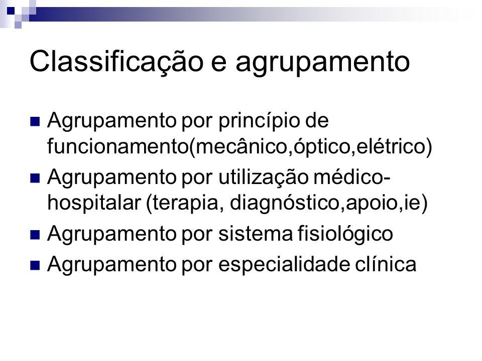 Classificação e agrupamento Agrupamento por princípio de funcionamento(mecânico,óptico,elétrico) Agrupamento por utilização médico- hospitalar (terapi