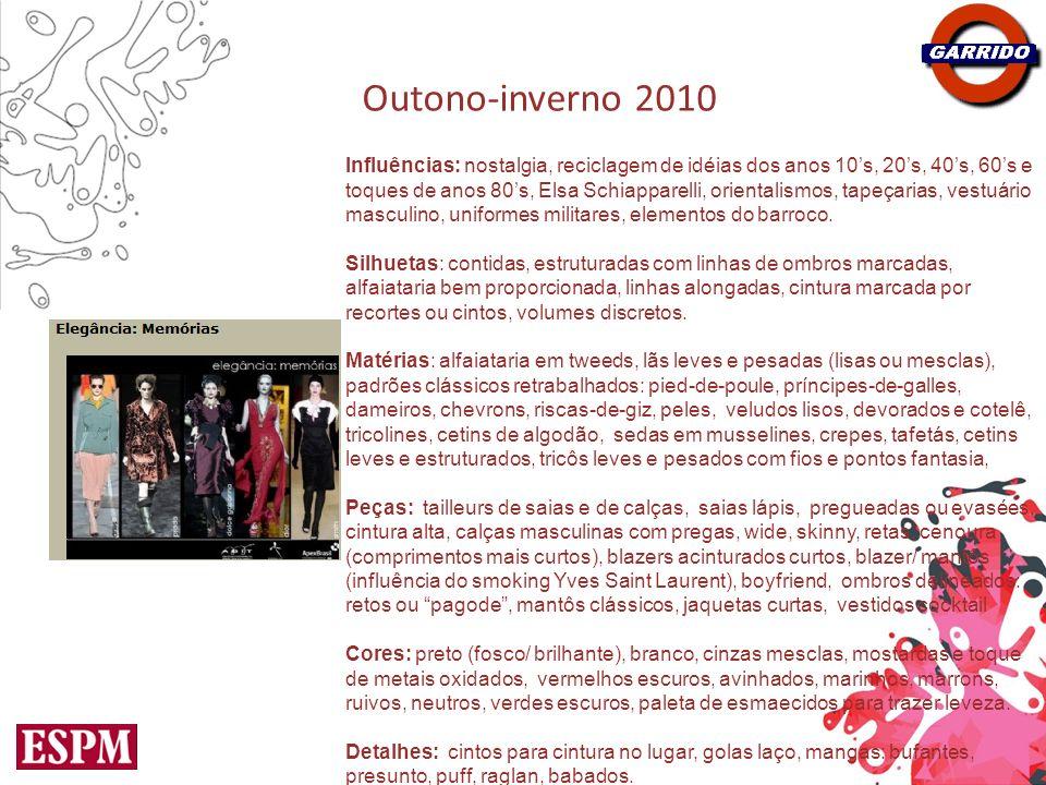 Outono-inverno 2010 Influências: nostalgia, reciclagem de idéias dos anos 10s, 20s, 40s, 60s e toques de anos 80s, Elsa Schiapparelli, orientalismos,
